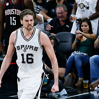 03 May 2017: San Antonio Spurs center Pau Gasol (16) celebrates during the San Antonio Spurs 121-96 victory over the Houston Rockets, in game 2 of the Western Conference Semi Finals, at the AT&T Center, San Antonio, Texas, USA.