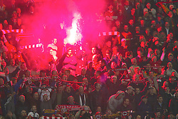 LIVERPOOL, ENGLAND - Tuesday, March 19, 2002: Liverpool's fans set off a flare on the Kop during the UEFA Champions League match against AS Roma at Anfield. (Pic by David Rawcliffe/Propaganda)