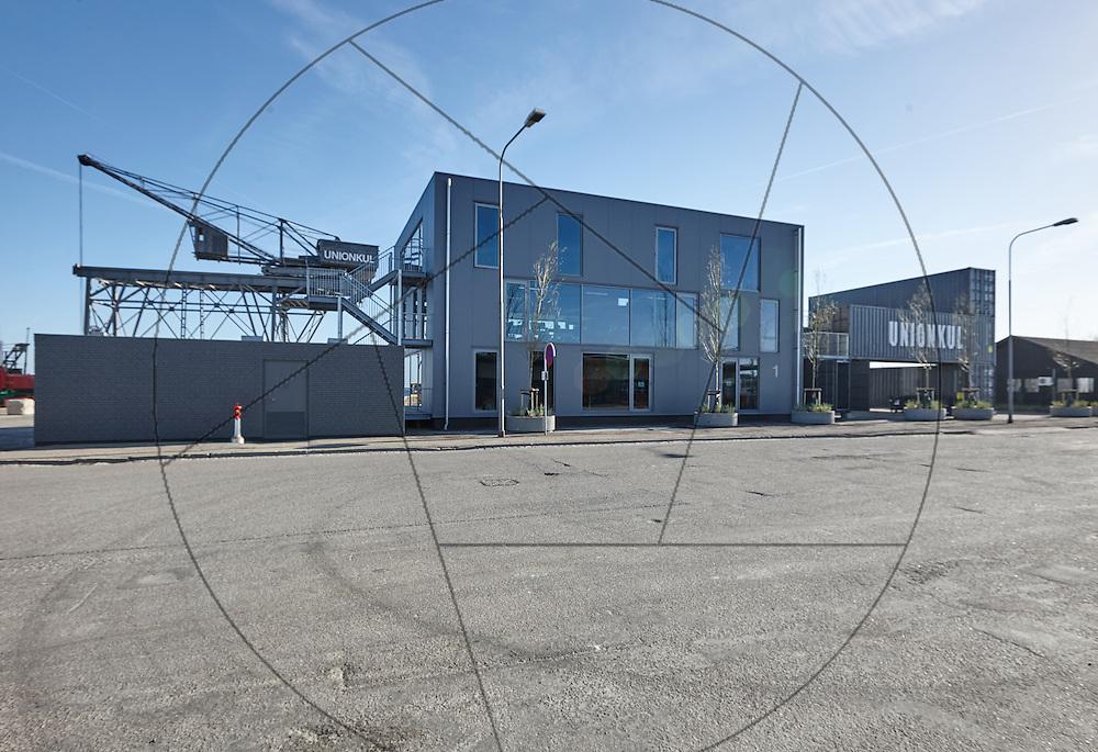 Containerbyen, Nordhavn, genbrugsbyggeri af gamle containere, nybyggeri af kontorlokaler Container Hus, UNION KUL; kran, gammel kran, facade