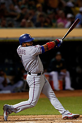OAKLAND, CA - SEPTEMBER 21:  Elvis Andrus #1 of the Texas Rangers at bat against the Oakland Athletics during the third inning at the RingCentral Coliseum on September 21, 2019 in Oakland, California. The Oakland Athletics defeated the Texas Rangers 12-3. (Photo by Jason O. Watson/Getty Images) *** Local Caption *** Elvis Andrus