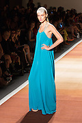 An electric blue floor-length dress with spaghetti straps.