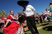 UA Grupo Folklorico Miztontli performs at Hispanic Heritage Day Tailgate Fiesta on the UA Mall during tailgating before a UA football game at the University of Arizona, Tucson, Arizona, USA.
