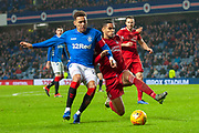 James Tavernier (#2) of Rangers and Max Lowe (#29) of Aberdeen FC tussle for the ball inside the box during the Ladbrokes Scottish Premiership match between Rangers and Aberdeen at Ibrox, Glasgow, Scotland on 5 December 2018.