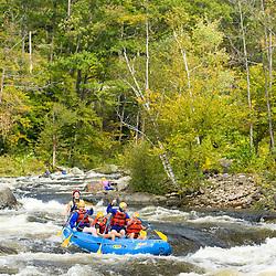 Whitewater rafting Split-Hair rapid on the Deerfield River in Rowe, Massachusetts. Dryway run.