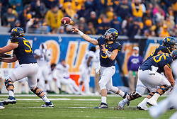Oct 22, 2016; Morgantown, WV, USA; West Virginia Mountaineers quarterback Skyler Howard (3) throws a pass during the third quarter against the TCU Horned Frogs at Milan Puskar Stadium. Mandatory Credit: Ben Queen-USA TODAY Sports