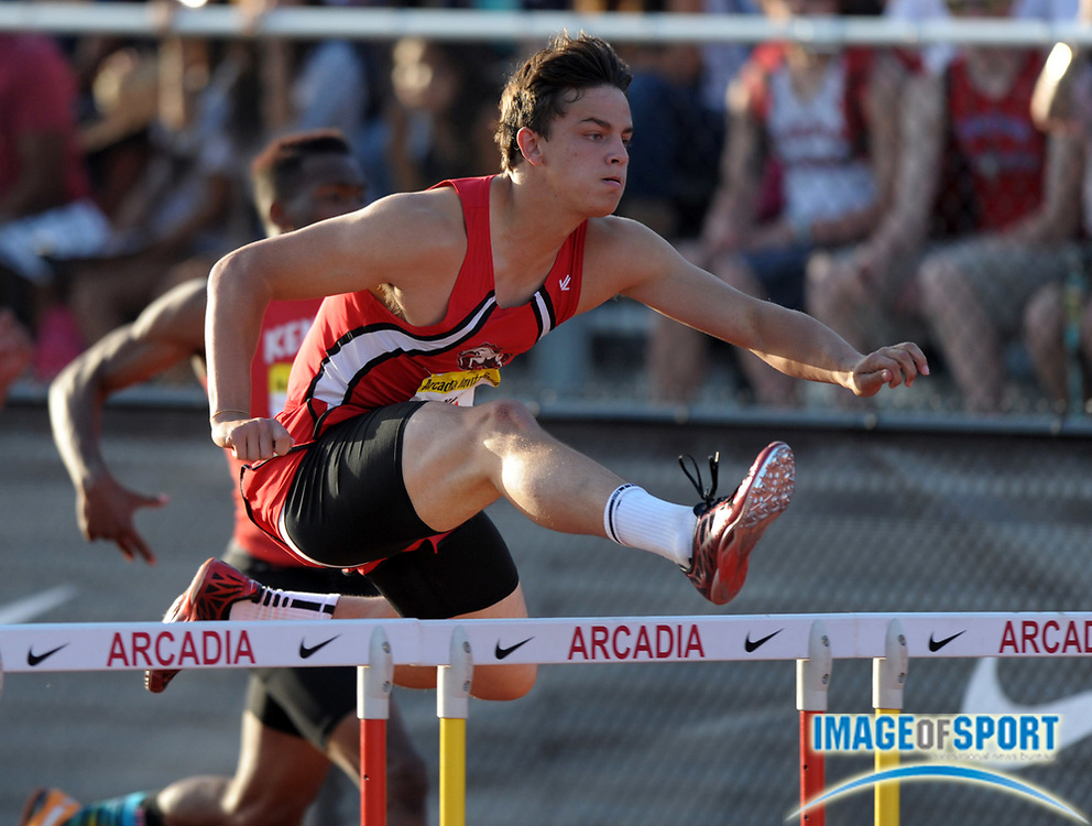 Apr 7, 2012; Arcadia, CA, USA; Devon Allen of Brophy Prep wins the 110m hurdles in 13.52 in the Arcadia Invitational at Arcadia High.
