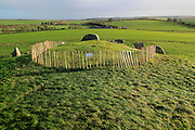 West Kennet neolithic long barrow, Wiltshire, England, UK under repair