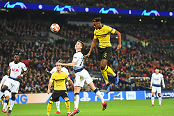 February 13, 2019 - London, England, United Kingdom - Borussia Dortmund defender Dan-Axel Zagadou heads for goal over Tottenham defender Juan Foyth during the UEFA Champions League match between Tottenham Hotspur and Ballspielverein Borussia 09 e.V. Dortmund at Wembley Stadium, London on Wednesday 13th February 2019. (Credit: Jon Bromley | MI News & Sport Ltd) (Credit Image: © Mi News/NurPhoto via ZUMA Press)