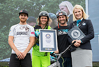 Stunt cyclists Andrei Burton and Rick Koekoek pose for a group photo after being awarded Guinness World Records in the London Trials Championships, presented by Buxton, at this year's Prudential RideLondon FreeCycle 29/07/2017<br /> <br /> Photo: Tom Lovelock/Silverhub for Prudential RideLondon<br /> <br /> Prudential RideLondon is the world's greatest festival of cycling, involving 100,000+ cyclists – from Olympic champions to a free family fun ride - riding in events over closed roads in London and Surrey over the weekend of 28th to 30th July 2017. <br /> <br /> See www.PrudentialRideLondon.co.uk for more.<br /> <br /> For further information: media@londonmarathonevents.co.uk