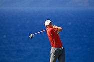 January 09 2016: Jordan Spieth tees off on number thirteen during the Third Round of the Hyundai Tournament of Champions at Kapalua Plantation Course on Maui, HI. (Photo by Aric Becker)