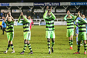The players applaud the away support during the Vanarama National League match between Bromley FC and Forest Green Rovers at Hayes Lane, Bromley, United Kingdom on 7 January 2017. Photo by Shane Healey.