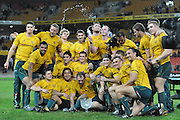 Australia pose with the Landsdowne Cup during action from the Rugby Union Test Match played between Australia and Ireland at Suncorp Stadium (Brisbane) on Saturday 26th June 2010 ~ Australia (22) defeated Ireland (15) ~ © Image Aura Images.com.au ~ Conditions of Use: This image is intended for Editorial use as news and commentry in print, electronic and online media ~ Required Image Credit : Steven Hight (AURA Images)For any alternative use please contact AURA Images