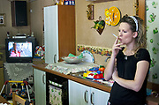 Woman living  in a house-container of the Municipality of Palermo  since seven years, after being  evicted from home.<br /> Palermo,una donna  vive con la famiglia  da circa sette anni in un campo containers del comune, dopo avere  subito uno sfratto.
