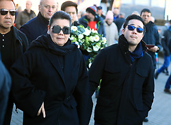 Aimon and Aiyawatt Srivaddhanaprabha arrive to lay a wreath in memory of Leicester Chairman, Vichai Srivaddhanaprabha, who was among those to have tragically lost their lives on Saturday evening when a helicopter carrying him and four other people crashed outside King Power Stadium.