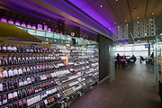 Linz, Cultural Capital of Europe 2009. Ars Electronica Center. Wine bottles at CUBUS cafe?, restaurant and bar.