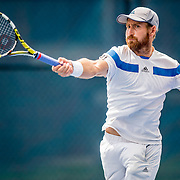 August 20, 2016, New Haven, Connecticut: <br /> Nicolas Meister in action during a US Open National Playoffs match at the 2016 Connecticut Open at the Yale University Tennis Center on Saturday, August  20, 2016 in New Haven, Connecticut. <br /> (Photo by Billie Weiss/Connecticut Open)
