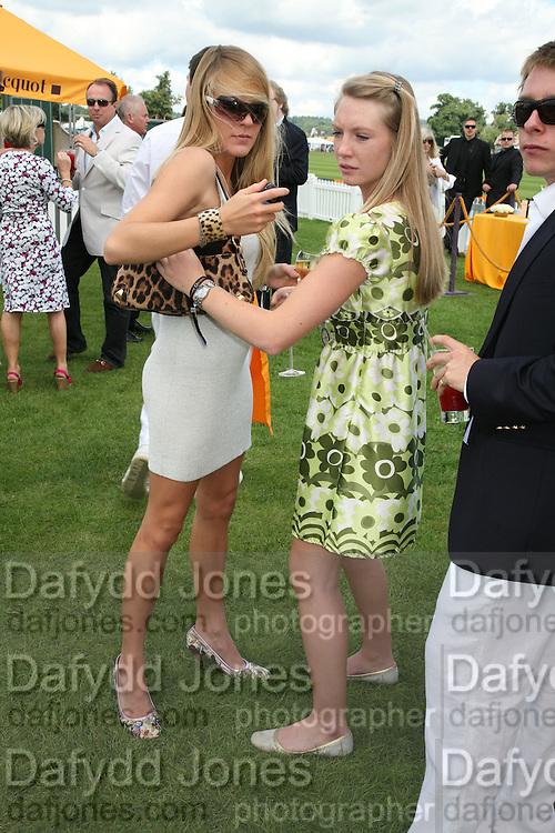 hon Eliza Pearson and Abigail Dixon, The Veuve Clicquot Gold Cup 2007. Cowdray Park, Midhurst. 22 July 2007.  -DO NOT ARCHIVE-© Copyright Photograph by Dafydd Jones. 248 Clapham Rd. London SW9 0PZ. Tel 0207 820 0771. www.dafjones.com.