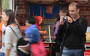 Visitors at the twice-weekly Turkish market on Maybachufer beside the Landwehrkanal, Berlin, Germany. Picture by Manuel Cohen
