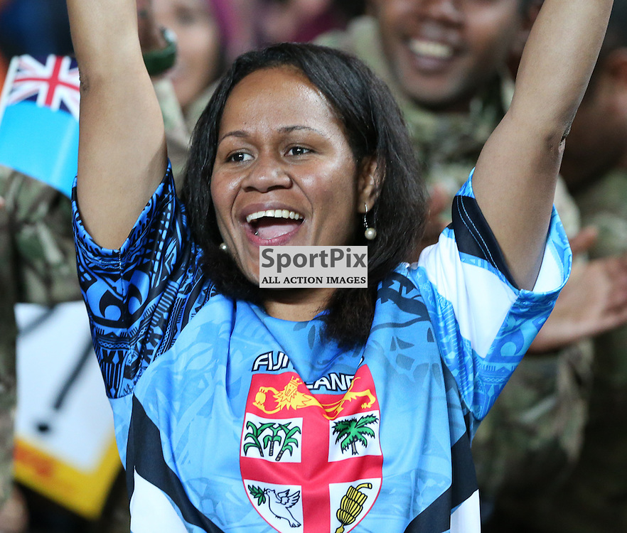 Fiji celebrates a try during the Rugby World Cup Fiji v Uruguay, Tuesday 06 October 2015, Milton Keynes Stadium, Milton Keynes, England Stadium (Photo by Mike Poole - SportPix)