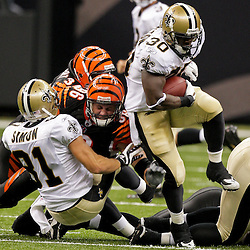 2009 August 14: New Orleans Saints running back Lynell Hamilton (30) runs away from during 17-7 win by the New Orleans Saints over the Cincinnati Bengals in their preseason opener at the Louisiana Superdome in New Orleans, Louisiana.