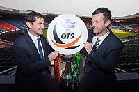 12/03/15 <br /> HAMPDEN - GLASGOW <br /> Dundee United Manager Jackie McNamara (left) joins Celtic Manager Ronny Deila as they preview their side's forthcoming Scottish League Cup Final