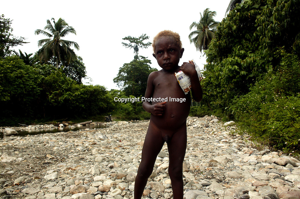"""SARMI, MAY-2: a malnourished child stands in  a river bed in a village in the rainforest in Sarmi. health care in Papua is rudimentary and in some remote areas doctors are not available.In the Sarmi region of Papua, attempts from national and foreign companies to buy the rainforest have been turned down by  Sarmi's governor. He thinks it's not a long term solution to destroy the rainforest and replace it with oil palms as those take more than 8 years to grow until the first harvest. He rather encourages Indonesians from other islands like Java and Sumatra to move to Papua  and find jobs in the fishing industry and/or move into the forest. Should the Indonesian government ever try and allow companies to explore the rainforest in Sarmi , there'd """" be trouble with the locals'. Sarmi is seen as a positive alternative to the destruction of the rainforest in other parts of Indonesia.. Logging is one of the major causes of environmental destruction in West Papua. As Indonesia's own forest resources decline, it has turned its attention to West Papua. Indonesia's forest practices generally have little or no attention paid to the environmental impact of logging. Many of the indigenous people of West Papua are threatened as vast tracts of land have been granted as concessions to timber companies, a practice which is having severe social and physical consequences. . The island of New Guinea is one of the most biologically diverse in the world. There are species of flora and fauna in common with Australia, such as some marsupials, the bird of paradise and eucalyptus trees. Numerous species, unique to the island, are threatened by logging and other development projects. . Second only to the Amazon, the island of New Guinea has one of the largest tracts of tropical rainforest left in the world. West Papua's forests, rich in bio-diversity, account for approximately 34.6 million hectares or 24 per cent of Indonesia's total forested area of 143 million hectares. Over 27.6 million hec"""
