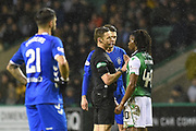 Referee Steve McLean has a word with 40 Stephane Omeonga  during the Ladbrokes Scottish Premiership match between Hibernian and Rangers at Easter Road, Edinburgh, Scotland on 8 March 2019.