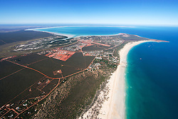 Aerial view of Roebuck Bay and Broome over Cable Beach and Gantheume Point
