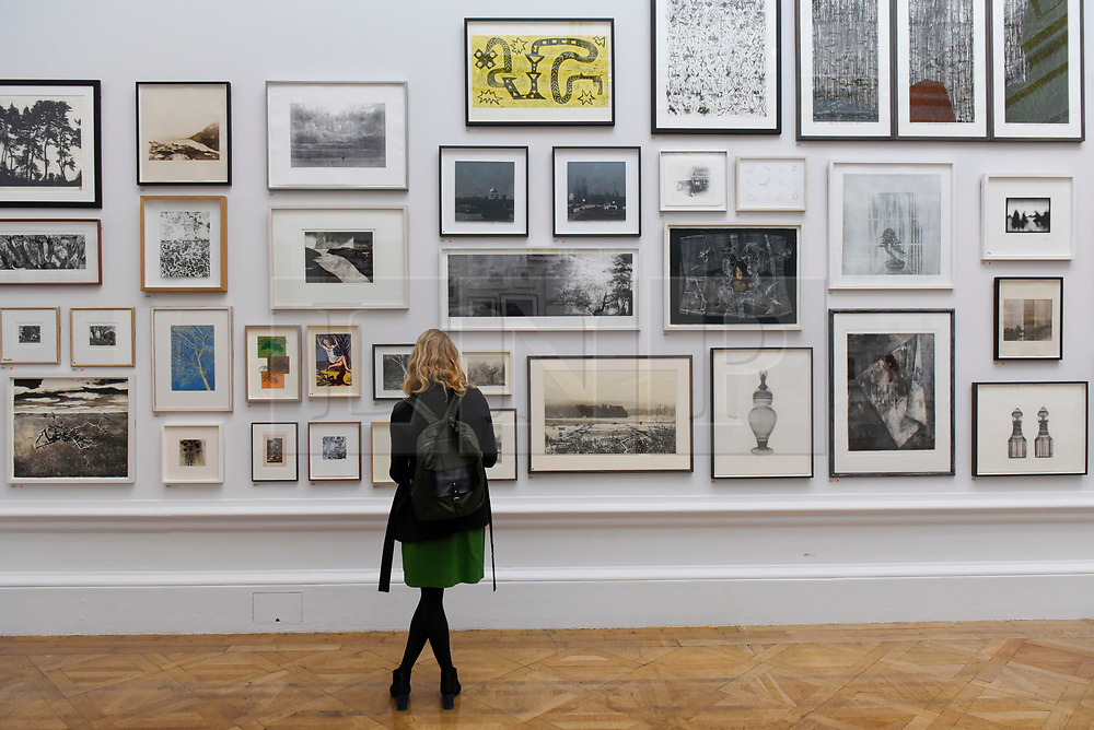 © Licensed to London News Pictures. 08/06/2017. London, UK. A visitor views works on display.  Preview of the Summer Exhibition 2017 at the Royal Academy of Arts in Piccadilly.  Co-ordinated by Royal Academician Eileen Cooper, the 249th Summer Exhibition is the world's largest open submission exhibition with around 1,100 works on display by high profile and up and coming artists.<br />  Photo credit : Stephen Chung/LNP