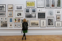&copy; Licensed to London News Pictures. 08/06/2017. London, UK. A visitor views works on display.  Preview of the Summer Exhibition 2017 at the Royal Academy of Arts in Piccadilly.  Co-ordinated by Royal Academician Eileen Cooper, the 249th Summer Exhibition is the world's largest open submission exhibition with around 1,100 works on display by high profile and up and coming artists.<br />  Photo credit : Stephen Chung/LNP