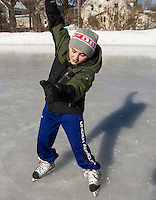 James Horan finds his balance on skates during the skating party put on by Laconia Parks and Recreation at Memorial Park on Friday afternoon.   (Karen Bobotas/for the Laconia Daily Sun)