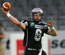 06.07.2013, Tivoli Stadion, Innsbruck, AUT, EFL Finale, Eurobowl XXVII, Swarco Raiders Tirol (AUT) vs Raiffeisen Vikings Vienna (AUT), im Bild Kyle Callahan, (SWARCO Raiders Tirol, QB, #6)  // during the Eurobowl XXVII between Swarco Raiders Tirol (AUT) and Raiffeisen Vikings Vienna (AUT) at the Tivoli Stadion, Innsbruck, Austria on 2013/07/06. EXPA Pictures © 2013, PhotoCredit: EXPA/ Thomas Haumer