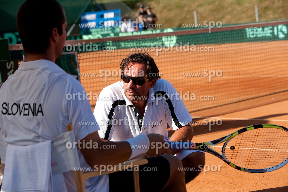 Luka Gregorc and Coach  of Slovenia Blaz Trupej during tennis match of 2nd Round of Euro/Africa Group II of the Davis Cup between teams Slovenia vs Bulgaria, on July 10, 2010 at Sports center Otocec, Novo mesto, Slovenia. (Photo by Vid Ponikvar / Sportida)