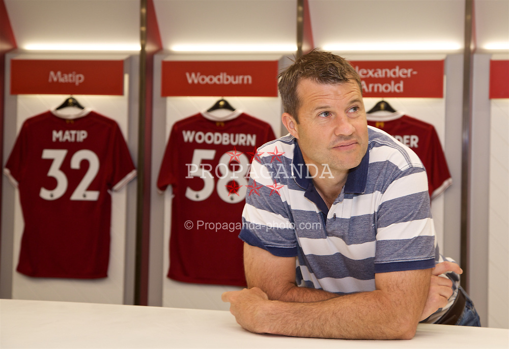 LIVERPOOL, ENGLAND - Sunday, June 18, 2017: Barry Cowan in the dressing room on a visit Anfield during Day Four of the Liverpool Hope University International Tennis Tournament 2017. (Pic by David Rawcliffe/Propaganda)