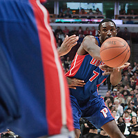 30 October 2010: Detroit Pistons Ben Gordon passes the ball during the Chicago Bulls 101-91 victory over the Detroit Pistons at the United Center, in Chicago, Illinois, USA.
