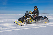 Snowmobile on Pakwash Lake<br />