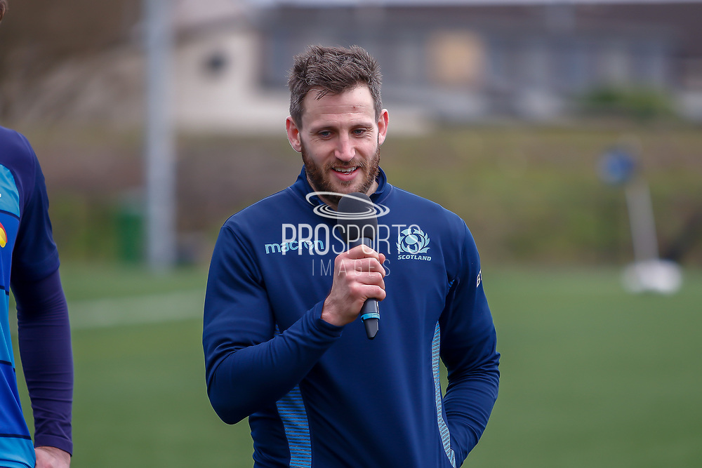 Scottish Rugby Winger Tommy Seymour during the training session and press conference for Scotland Rugby at Clydebank Community Sports Hub, Clydebank, Scotland on 13 February 2019.
