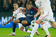 Paris Saint Germain's French forward Kylian Mbappe is tackled during the UEFA Champions League, Group B football match between Paris Saint-Germain and Bayern Munich on September 27, 2017 at the Parc des Princes stadium in Paris, France - Photo Benjamin Cremel / ProSportsImages / DPPI