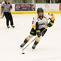 2nd year defence man Kaitlyn Crowe (16) of the Regina Cougars in action during the Women's Hockey home game on December 1 at Co-operators arena. Credit: Arthur Ward/Arthur Images