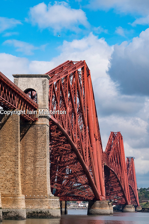 View of historic forth Railway Bridge from South Queensferry in Scotland, United Kingdom.