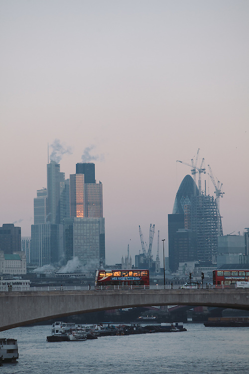 A view of the City of London down the Thames. 11.12.2012