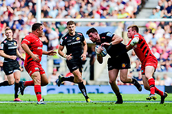 Alex Cuthbert of Exeter Chiefs is challenged - Mandatory by-line: Ryan Hiscott/JMP - 01/06/2019 - RUGBY - Twickenham Stadium - London, England - Exeter Chiefs v Saracens - Gallagher Premiership Rugby Final