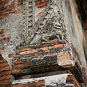 Part of the weathered decorative exterior of Gu-byauk-gyi Temple in Nyaung-U, Myanmar (Burma).