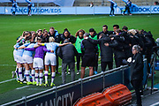 Manchester City Women huddle before kick off during the FA Women's Super League match between Manchester City Women and West Ham United Women at the Sport City Academy Stadium, Manchester, United Kingdom on 17 November 2019.