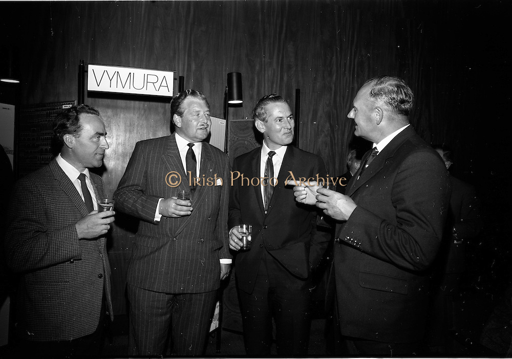 "23/06/1965<br /> 06/23/1965<br /> 23 June 1965<br /> I.C.I. (Imperial Chemical Industries) ""Vymura""  luxury wall covering (wallpaper?) demonstration at the Intercontinental Hotel, Dublin. Pictured at the event were (l-r) Mr. James J. Connell, architect; Mr. T.P. Casey, Commercial Director I.C.I. (Ireland) Ltd.; Mr. D. McGreevey, Director, Building Centre and Mr. J.S. Watkins, Managing Director I.C.I. (Ireland) Ltd."