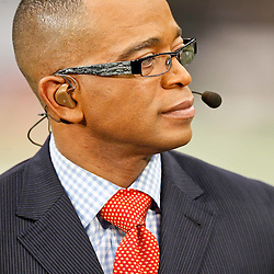 November 28, 2011; New Orleans, LA, USA; ESPN Monday Night Football host Stuart Scott prior to kickoff of a game at the Mercedes-Benz Superdome. Mandatory Credit: Derick E. Hingle-US PRESSWIRE