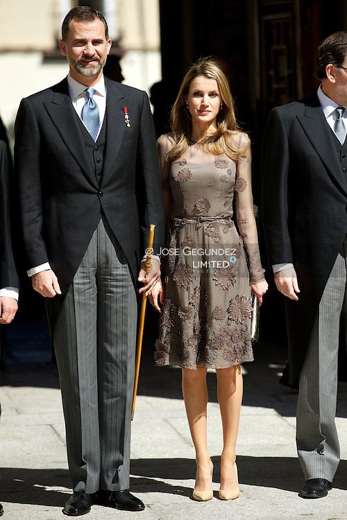 Prince Felipe of Spain and Princess Letizia of Spain and Award winner Jose Manuel Caballero Bonald, attend the Cervantes Award ceremony at Alcala de Henares University on April 23, 2013 in Alcala de Henares, Spain