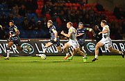 Sale Sharks full-back Will Addison  kicks the ball through during the The Aviva Premiership match Sale Sharks -V- Exeter Chiefs  at The AJ Bell Stadium, Salford, Greater Manchester, England on Friday, October 27, 2017. (Steve Flynn/Image of Sport)