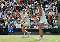 Tennis - 2017 Wimbledon Championships - Week Two, Thursday [Day Ten]<br /> <br /> Mixed Doubles, Semi Final match<br /> <br /> Jamie Murray (GBR) and Martina Hingis (SUI) vs. Ken Skupski (GBR) and Jocelyn Rae (GBR)<br /> <br /> Jamie Murray and Martina Hingis on  Centre Court <br /> <br /> COLORSPORT/ANDREW COWIE