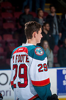 KELOWNA, CANADA - JANUARY 28:  Nolan Foote #29 of the Kelowna Rockets lines up against the Portland Winterhawkson January 28, 2017 at Prospera Place in Kelowna, British Columbia, Canada.  (Photo by Marissa Baecker/Shoot the Breeze)  *** Local Caption ***